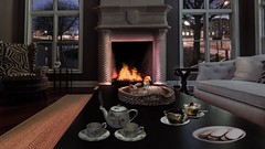 Cozy living room (Serene Mountain) Tags: city sleeping storm paris france cute bird window cookies rain cat table living cozy fireplace afternoon tea furniture room relaxing frança gato metropolis thunder passaro noble asmr fluffly relaxamento cakes chair sofa tempest marvel wood china fire intense meditation pondering ambiance