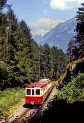 MC ABDt 65 (Martigny-Chatelard) Salvan 15/08/1983 (stefano.trionfini) Tags: train treni bahn zug mc martignychatelard vallese svizzera switzerland