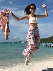 jumping (ChalidaTour) Tags: thailand thai asia asian girl femme woman nina teen twen beautiful cute sweet high jump beach ocean sea water sky blue wind happyplanet asiafavorites