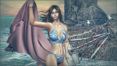 *An ocean breeze, puts a mind at ease* ❤️ (Ⓐⓝⓖⓔⓛ (Angeleyes Roxley)) Tags: lw bento poses gone beach summerfest mainstore single female windy fabric tetra sl secondlife cryssie bikini hud fatpack