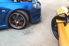 Subaru BRZ & Mitsubishi Lancer EVO X (FanFanD Yuen) Tags: mitsubishi lancer subaru vehicle blue yellow pose tuning car