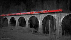 the red train (klaus.huppertz) Tags: breitnau red rot zug train eisenbahn regionalbahn brücke bridge schwarzweis blackwhite bw ck colorkey colourkey farbe color colour landschaft landscape nikon nikond750 d750 nikkor db colourkeying bahn railway 2470mmf28g schwarzwald blackforest