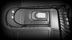 Stairs Schauenburger Straße 44 (petra.foto busy busy busy) Tags: fotopetra canon eosrp monocrom schwarz weiss hamburg germany treppenhaus vonunten