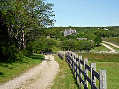 photo - Block Island Pastoral, Rhode Island (Jassy-50) Tags: photo blockisland rhodeisland island dirtroad road path fence farm house tree