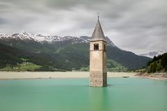 Underwater Church (twomphotos) Tags: italy south tyrol südtirol mountain lake berge see schnee wasser wiese nature natur scenic water waser graun mystic reschensee reschenpass vinschgau bestoftrips