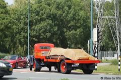 1937 Ford Model 79 (NielsdeWit) Tags: nielsdewit car vehicle oldtimer oldtimerdag oldtimerfestival veenendaal 2019 be6587 ford model 79 1937 red driving trailer truck