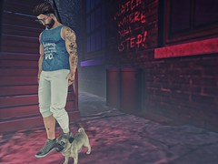 #176 - let's go to my pet (by Blog: Male Fashion Modern) Tags: treizeddesigns pacagaia madamenoir navajo cinphul lob rebel dog pose backdrop secondlife