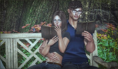 *Reading is dreaming with open eyes* ❤️ (Ⓐⓝⓖⓔⓛ (Angeleyes Roxley)) Tags: lw poses bento couple with me romantic bench dream sl secondlife tres chic event mainstore