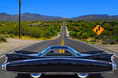 How Can You Be in Two Places At Once When You Are Nowhere At All? (oybay©) Tags: cavecreek arizona automobile car photoshop nokidding cadillac carshow show generalmotors gm large finesse style grace taillight color colorful colour caddy caddie cad blackcar tailfin art