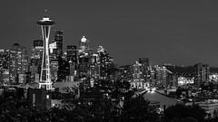 Night lights of Seattle. (GDMetzler) Tags: blackandwhite bw seattle cityscape night spaceneedle queenanne washington nikon tamron tamron2470mm lights slow pacificnorthwest pnw
