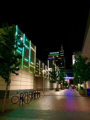 Late Night Boise (ahockley) Tags: afterdark boise brick groveplaza idaho neon neonsign night shotoniphone shotoniphonexs zionsbank