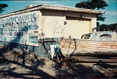 Boat house (benriley80) Tags: lomo lomography fuji gw690ii fujifilm f2400 melbourne australia 120 mediumformat boat boathouse
