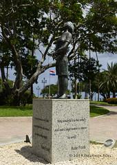 Wilhelmina Park: Anne Frank statue (© Freddie) Tags: aruba oranjestad statue annefrank renaissance renaissancearubaresort oceanhotel fjroll ©freddie wilhelminapark