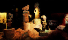 Inca Statues at the British Museum (Steve Taylor (Photography)) Tags: incastatues britishmuseum art statue sculpture museum brown black red stone uk gb england unitedkingdom greatbritain london shadow texture