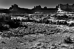 The Wooden Shoe Arch and Other Arches, Spires, Knobs, and Fins (Black & White, Canyonlands National Park) (thor_mark ) Tags: anseladamslookfromcapturenx2 azimuth159 blackwhite blueskies butte canyonlands canyonlandsnationalpark capturenx2edited centralcanyonlands colorefexpro coloradoplateau day4 desertgrassland desertlandscape desertmountainlandscape desertplantlife desertprairieland desertwildflowers highdesert intermountainwest landscape layersofrock lookingse mesa nature nikond800e outside portfolio project365 rollinghillsides sr211 smallbush smallbushes stateroute211 sunny theneedlesdistrict trees utahhighdesert utahnationalparks2017 utahstateroute211 woodenshoearch woodenshoeoverlook utah itedstates