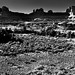 The Wooden Shoe Arch and Other Arches, Spires, Knobs, and Fins (Black & White, Canyonlands National Park)