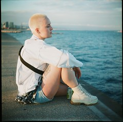 Helena (Nino Vasilkovskaya) Tags: lubitel любитель europe color colour barcelona spain españa girl white water sea bald