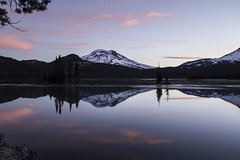 Sparks Lake, Oregon at sunrise (icetsarina) Tags: oregon water mountains sunrise clouds sparkslake trees forest