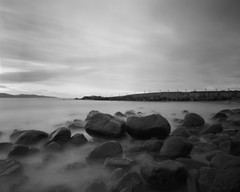 Colac Bay / Southland / NZ (Matthew McCutcheon) Tags: matt matthew quintin mccutcheon ilford fp4 100asa 100 bw blackandwhite blackwhite bwf titan harman pinhole longexpsoure v700 epson 4x5 5x4 landscape largeformat southland sea water movement colacbay