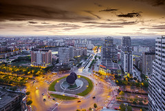 City (Pawel Wietecha) Tags: valencia spain color colors light travel trip journey architecture urbanscape modern art green red brown vivid city architecturalphotography cityscape landscape sunset outdoor sky clouds evening orange streets buildings skyline lights