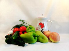 Still life with vegetables (msergeevna) Tags: stilllife tomato vegetables fruit apples cucumbers pepper asetelma omenat tomaatit vihannekset kurkut pippuri
