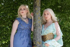 Daenerys cosplayers at ExCeL London's MCM Comic Con, May 2019 (Gordon.A) Tags: london docklands excel excellondonexhibitioncentre mcm moviecomicmedia comic con convention mcm2019 may 2019 festival event creative costume design style lifestyle culture subculture daenerys gameofthrones character cosplay cosplayer pretty lady woman people face model pose posed posing outdoor outdoors outside tree trees leaves naturallight colour colours color colors amateur portrait portraiture photography digital canon eos 750d sigma sigma50100mmf18dc