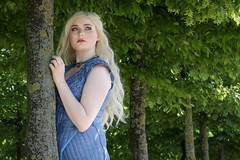 Daenerys cosplayer at ExCeL London's MCM Comic Con, May 2019 (Gordon.A) Tags: london docklands excel excellondonexhibitioncentre mcm moviecomicmedia comic con convention mcm2019 may 2019 festival event creative costume design style lifestyle culture subculture daenerys gameofthrones character cosplay cosplayer pretty lady woman people face model pose posed posing outdoor outdoors outside tree trees leaves naturallight colour colours color colors amateur portrait portraiture photography digital canon eos 750d sigma sigma50100mmf18dc