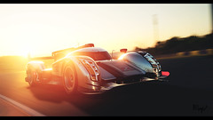 Audi R18 TDI (at1503) Tags: sunrise dawn car motion movement speed blur audi r18 audir18 group1 racingcar france track circuit lemans orange sky wheels silver white goldenlight sunlight yellow germancar gtsport granturismo granturismosport motorsport racing game gaming ps4