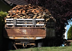 For hungry stoves and ovens! (Gerlinde Hofmann) Tags: germany thuringia village bürden wood trailer rusty