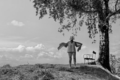 woman in nature (heinzkren) Tags: schwarzweis blackandwhite monochrome noiretblanc canon eosr nature natur tree baum bank bench sky himmel clouds wolken idyll austria styria steiermark woman lady frau dame summer sommer horizon horizont femme candid holiday light outside landscape landschaft birch birke été human