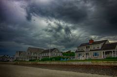 Blue Beach Chairs (Bud in Wells, Maine) Tags: drakesisland morning spring cloudy maine wells stormysky vacationland hss niksoftware hdrefexpro2