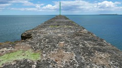 north pier (Mr Ian Lamb 2) Tags: coast sea horizon pier island sky clouds water concrete beacon coastal warkworth northumberland coquet amble