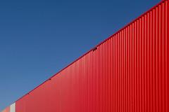 Red building with lines (Jan van der Wolf) Tags: map195442v red building gebouw gevel lines lijnen lijnenspel facade diagonaal diagonal hoorn