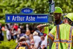 Arthur Ashe Boulevard (carlsonee) Tags: dualiso color naturallight canon canon5dmarkiii 70200mm 2xexiii boulevard sign installation vdot arthurashe