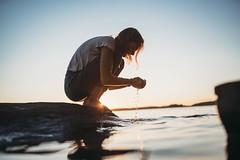 Midsummer (AlexanderHorn) Tags: midsummer summer finland water lake night sunset girl sea warm blue sky reflection scandinavia
