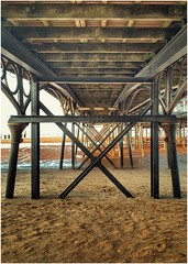 under the pier (Andy Stones) Tags: handheld cleethorpes pier seafront seaside sands structure steel lines wood sea tidal outdoors outside image imageof imagecapture photography photoof lincolnshire east lincs
