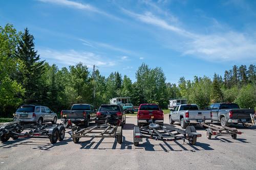 Trucks and Boat Trailers - Crane Lake Public Access, Minnesota