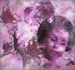 Sakura Pink (virtually_supine) Tags: theawardtreepinkgrungechallenge pinkgrunge vividcolour pink geisha butterflies blossom photomanipulation digitalartwork layers textures topazstudio photoshopelements13mac creative collage montage