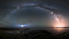 Milky Way arching over Favàritx Lighthouse (Max W!nter) Tags: favaritx lighthouse milkyway menorca ptgui vialactea milchstrase arch pano faro sea orange blue colorful nightsky stars minorca nocturnal sky estrellas sternenhimmel nachthimmel galacticcenter photopills light lights luzes arco centrogalactico spain nightphotography nikon wideangle panoramic panoramico baleares balearicislands mediterranean night summer outdoors starlight island isla outside nature nikkor beach nightscape longexposure galaxy mahón