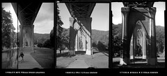 St. Johns Bridge Lens Comparison (jimhairphoto) Tags: lenstest streetlife streetstories théâtrederue portland oregon america pdx portlandnw remainsoftheday naturalworld 4x5project speedgraphic 90mmoptar crowngraphic 135mmxenar 210mmsinarons lens 4x5 ilford hp5 film blackandwhite blancetnoir schwarzweiss blancoynegro blancinegre siyahrebeyaz jimhairphoto