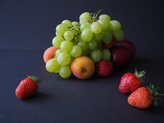 Still Life submission (jrose45) Tags: fruit unedited magazine stilllife still life wide aperture camera school practical photography 2019 grapes strawberries plums apricots depth field
