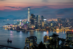 Hong Kong at blue hour (Piotr_Lewandowski) Tags: kowloon hongkong redincenseburnersummit longexposure bluehour sunset asia landscape cityscape sea strait water reflection slowshutter night nightlights nightshot tsimshatsui tst