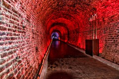 Brockville  Ontario - Canada -  Philips Light Show -  365 days a year - Old Railway Tunnel (Onasill ~ Bill Badzo) Tags: canon sl1 18250mm sigma lens macro rebel eos brockville on ontario canada leedscounty greenvillecounty downtown heritage historic first railway tunnel ottawa cpr canadian pacific city confederation pre restoration light effects attraction site onasill architecture geology victoria hall water street timber trade valley port st lawrence river seaway elizabethtown eastern thousand islands travel tourist wall philips color kinetic colr graze mx4 powercore fixtures lightshow train ceiling 1001nights