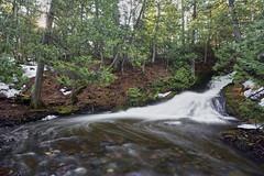 Madison Gap Falls (Kevin Pihlaja) Tags: waterfall keweenaw upperpeninsula michigan spring snow trees forest woodland sun sunburst flowingwater morning nature landscape leefilters lumixs1