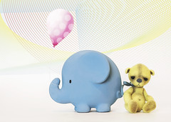 button does not like elephants (rockinmonique) Tags: button bear teddybear elephant balloon composite toy mini tiny yellow pink blue canon canont6s tamron tamron45mm copyright2019moniquewphotography