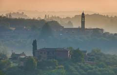 Siena sunrise (snowyturner) Tags: tuscany chianti morning mist layers landscape hills sunrise church tower villas siena