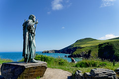 Photo of Statue of St. Carronog overlooking Llangrannog