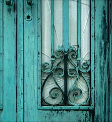Mausoleum, Patina (Kurt Kramer) Tags: copper cemetery ironwork patina window door curves