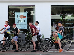toxic free - all natural (andrevanb) Tags: amsterdam overtoom brittish lad young men bike tourists shorts fashion bed mattress natural cocos sleep better nature toxicfree
