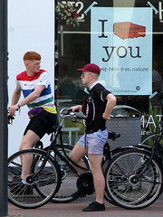I bed you do (andrevanb) Tags: amsterdam overtoom brittish lad young men bike tourists shorts fashion bed mattress natural sleep better nature cocos